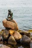 著名小的美人鱼statueDen里尔哥本哈根,丹麦Havfrue  免版税图库摄影