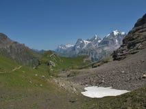 著名山Eiger、Monch和Jungfrau 免版税库存图片