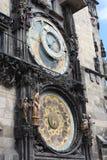 著名布拉格天文学时钟,老原子钟在捷克首都 库存照片