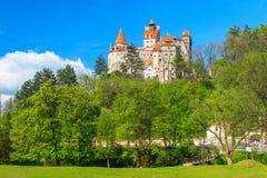 著名德雷库拉城堡,麸皮,特兰西瓦尼亚,罗马尼亚 免版税库存照片