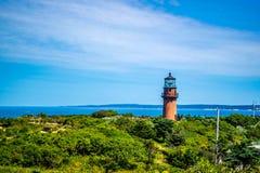 著名快乐顶头光在鳕鱼角马萨葡萄园岛,马萨诸塞 免版税图库摄影