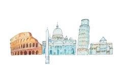 著名意大利地标移动和旅游业waercolor例证 库存图片