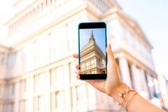 著名戏院塔在都灵 库存照片