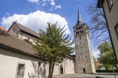 著名教会Martinskirche在辛德尔芬根德国 库存图片