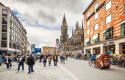 著名方形的Marienplatz,慕尼黑 免版税库存图片