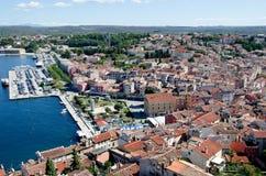 著名旅游地方全景在克罗地亚,罗维尼 免版税图库摄影