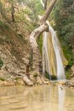 著名旅游目的地Neda瀑布在伯罗奔尼撒在希腊 免版税图库摄影
