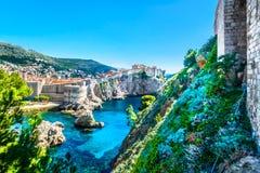 著名旅行地方杜布罗夫尼克在克罗地亚,地中海 图库摄影