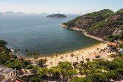 著名普腊亚Vermelha海滩Arial视图  库存照片