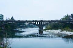 著名桥梁在Bassano del Grappa,威尼托,意大利 库存图片