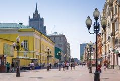 著名步行者阿尔巴特街在莫斯科,俄罗斯 库存图片