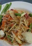著名泰国食物,番木瓜沙拉或什么我们称在泰国的Somtum 免版税库存照片