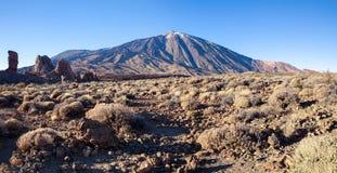 著名泰德峰火山全景在特内里费岛 库存图片