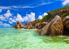 著名海滩来源d'Argent在塞舌尔群岛 免版税图库摄影