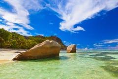 著名海滩来源d'Argent在塞舌尔群岛 库存照片