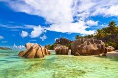著名海滩来源d'Argent在塞舌尔群岛 库存图片
