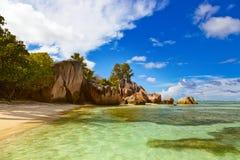 著名海滩来源d'Argent在塞舌尔群岛 免版税库存图片