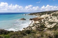 著名海滩,地中海,塞浦路斯 库存图片