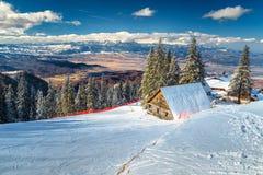 著名滑雪胜地在喀尔巴汗, Poiana布拉索夫,罗马尼亚,欧洲 库存图片
