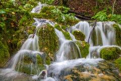 著名瀑布在Plitvice国家公园,克罗地亚瀑布 图库摄影