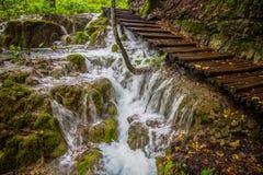 著名瀑布在Plitvice国家公园,克罗地亚瀑布 免版税库存照片