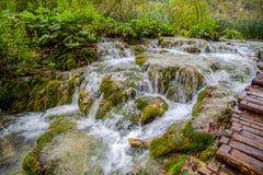 著名瀑布在Plitvice国家公园,克罗地亚瀑布 免版税库存图片