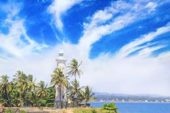 著名灯塔的美丽的景色在堡垒加勒,斯里兰卡的,在一个晴天 库存图片