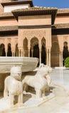 著名狮子喷泉,阿尔罕布拉宫城堡(格拉纳达,西班牙) 库存图片