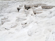 著名白色钙石灰华和水池在棉花堡,土耳其 图库摄影