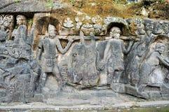 著名的Pulu雕刻了壁画, Ubud,巴厘岛 库存照片