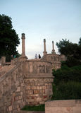 著名石楼梯跨步Kalemegdan堡垒公园贝尔格莱德 库存图片