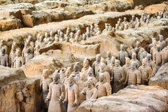 著名秦始皇兵马俑的看法挖掘坑的,中国 库存图片