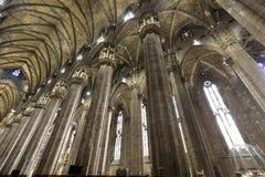 著名米兰大教堂-中央寺院内部  免版税库存照片