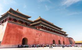 著名紫禁城的入口在北京,中国 免版税图库摄影