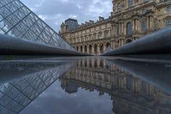 著名罗浮宫Iew有天窗金字塔的晚上 图库摄影