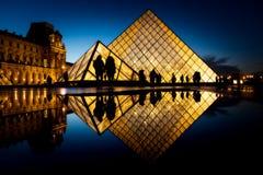 著名罗浮宫Iew有天窗金字塔的晚上 免版税图库摄影