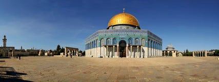 著名耶路撒冷清真寺全景 免版税库存照片