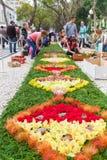著名花卉地毯在葡萄牙,马德拉岛海岛 库存照片