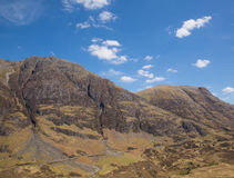 著名苏格兰幽谷山和遥远的路Glencoe苏格兰英国高的视图  库存照片