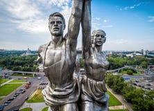 著名苏联纪念碑工作者和苏联的集体农庄的妇女,莫斯科 免版税库存图片
