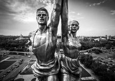 著名苏联纪念碑工作者和苏联的集体农庄的妇女,莫斯科 库存照片