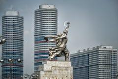 著名苏联纪念碑工作者和集体农夫在莫斯科 免版税库存照片