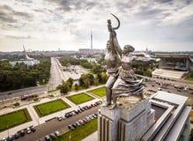 著名苏联纪念碑工作者和集体农夫,莫斯科 库存照片