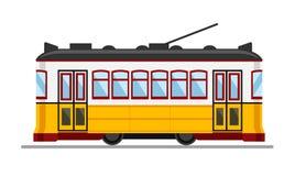著名葡萄酒黄色28电车在里斯本,葡萄牙 库存例证