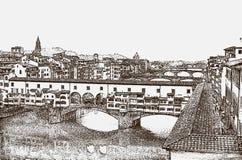 著名蓬特Vecchio桥梁的看法在阿尔诺河的在佛罗伦萨,托斯卡纳,意大利  皇族释放例证