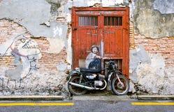 著名街道艺术壁画在乔治市,槟榔岛联合国科教文组织遗产站点,马来西亚 免版税库存照片
