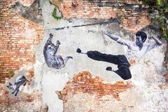 著名街道艺术壁画在乔治城,槟榔岛,马来西亚 免版税库存图片