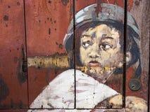 著名街道艺术壁画在乔治城,槟榔岛,马来西亚 免版税图库摄影