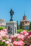 著名西班牙作家米格尔西万提斯雕象  库存照片