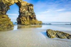 著名西班牙目的地,大教堂海滩(cated的playa de las 免版税库存图片